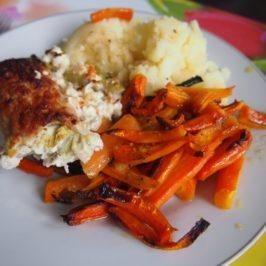 Roladki z fetą i ogórkiem z pieczoną marchewką