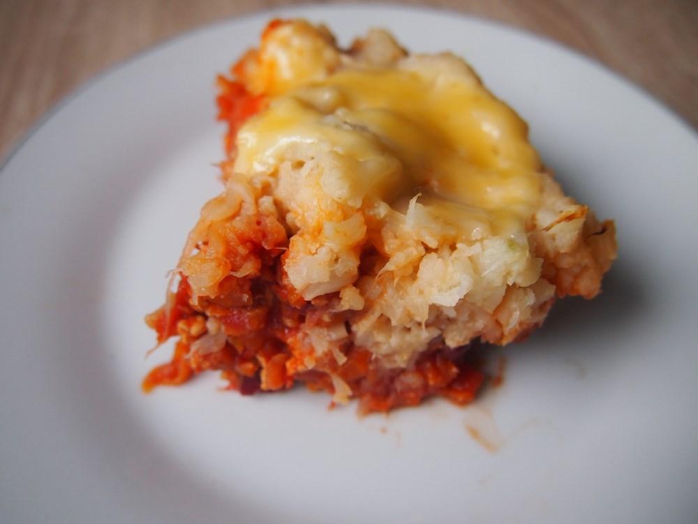 Zapiekanka z indyka z pomidorami i kalafiorem