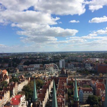 Widok z wieży Bazyliki Mariackiej w Gdańsku